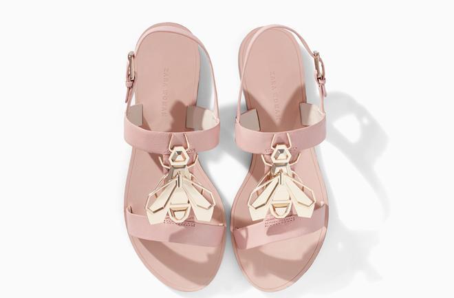 zara sandale pastelno roza 499 kn