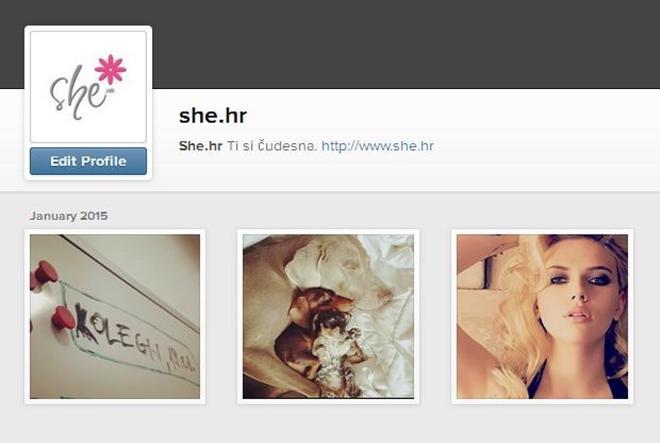 She.hr odsad i na Instagramu