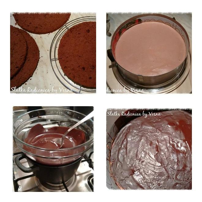 1. Biskvit (s brusnicama), narezan na 4 sloja 2. Krema, zaglađena 3. Topljenje čokolade na pari 4. Tanki sloj čoko glazure stavljen na kremu