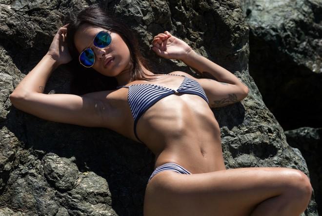 žena, plaža, seksi