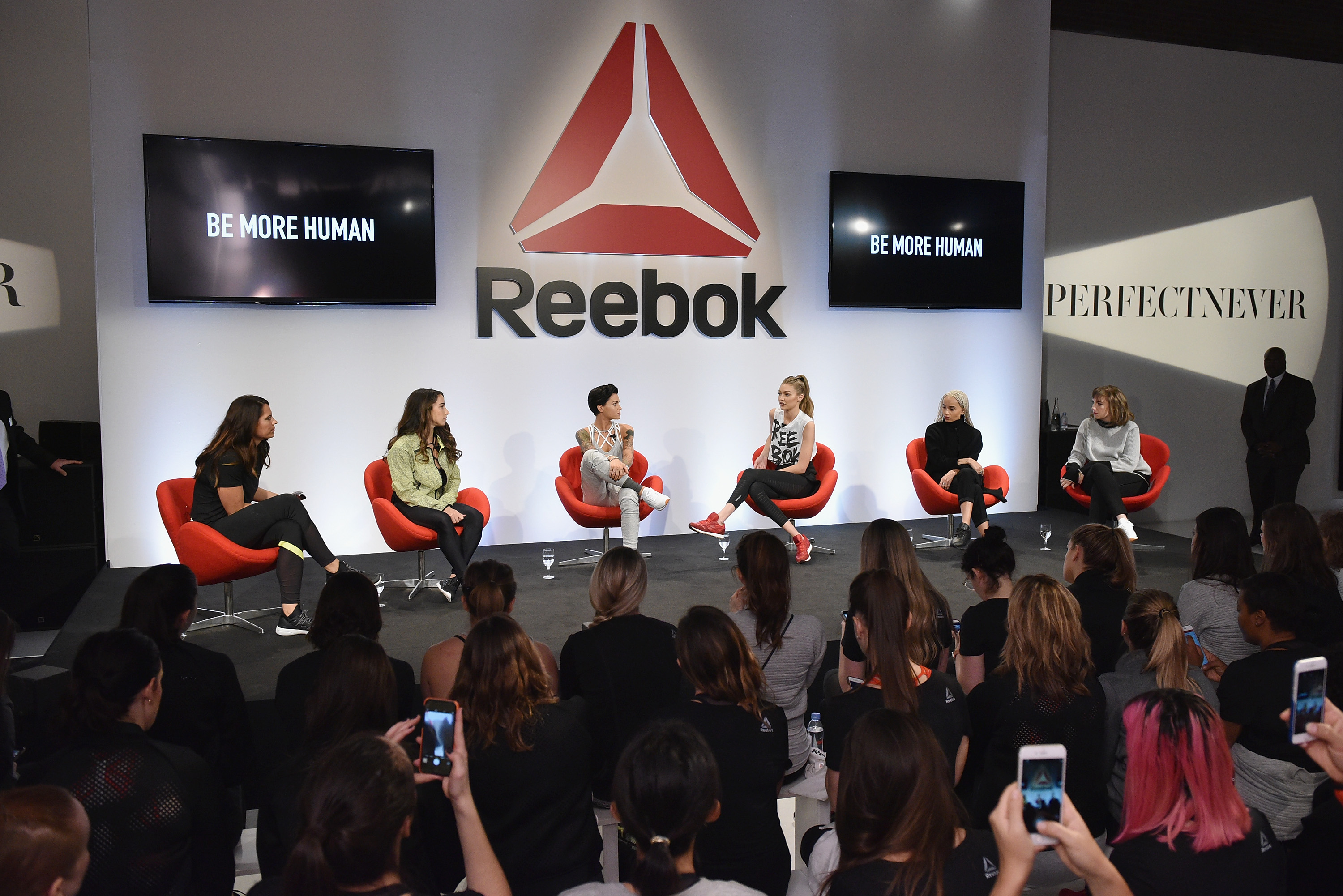 NEW YORK, NY - DECEMBER 07: Jessica Mendoza, Aly Raisman, Ruby Rose, Gigi Hadid, Zoe Kravitz and Lena Dunham speak onstage at Reebok And Gigi Hadid Present #PerfectNever Revolution on December 7, 2016 at Skylight at Clarkson Square in New York City. (Photo by Bryan Bedder/Getty Images for Reebok) *** Local Caption *** Jessica Mendoza;Aly Raisman;Ruby Rose;Gigi Hadid;Zoe Kravitz;Lena Dunham