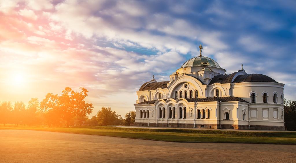 Brest garrison cathedral of St Nicholas, Belarus, in sunset.