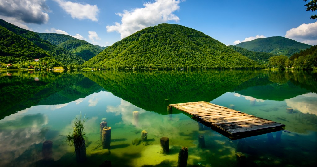 Fantastic lake in central Bosnia. Pliva, Jajce