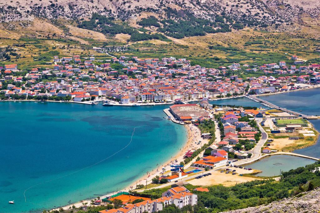 Pag island bay aerial view, Dalmatia, Croatia