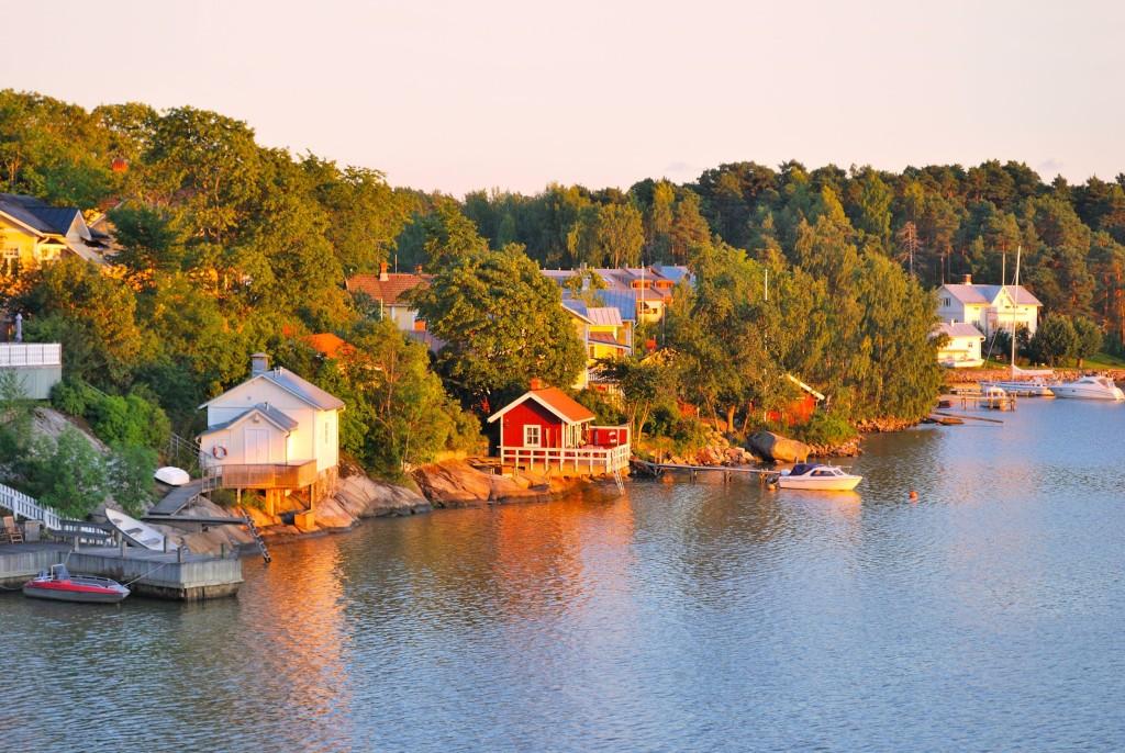 Beautiful sunset in finland in the vicinity of Turku