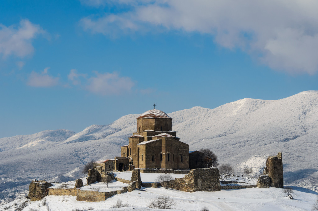 26952276 - jvari  cross  monastery is a georgian orthodox monastery of the 6th century near mtskheta  world heritage site , eastern georgia  the name is translated as the monastery of the cross  jvari monastery stands on the rocky mountaintop at the confluence of th
