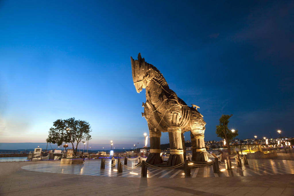 Canakkale, Turkey - June 09, 2014 - The wooden horse used at the movie of Troy. It was given to the city of Canakkale as a present in 2004. Now, it is located and displayed at a public park near the coast of Canakkale city in Turkey.