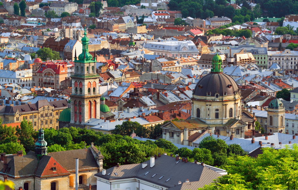 39366326 - lviv city in the evening. central part of the old city of lvov. ukraine