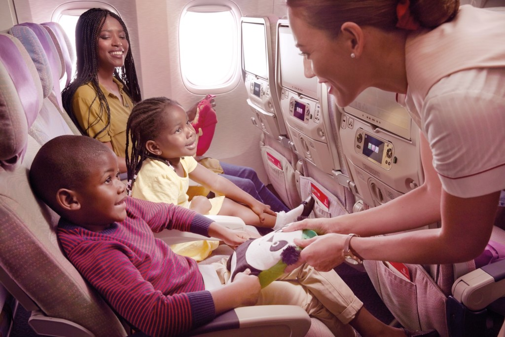 Emirates Cabin Crew provide children on board with toys from the Fly With Me Animals collection
