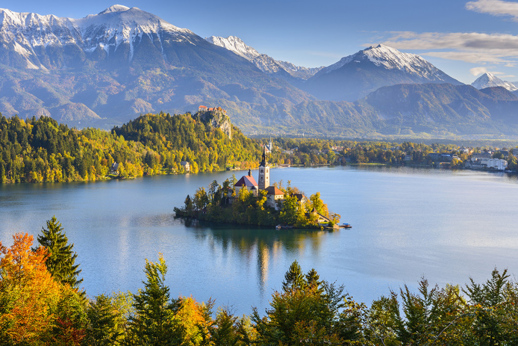 Panoramic view of Lake Bled from Mt. Osojnica, Slovenia