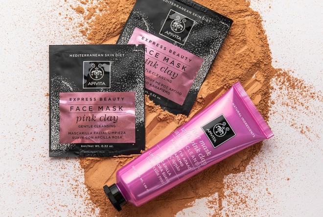 Express beauty maska za lice s ružičastom glinom za nježno čišćenje