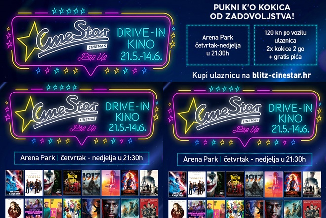 CineStar pokreće pokreće pop up drive-in kino u Zagrebu